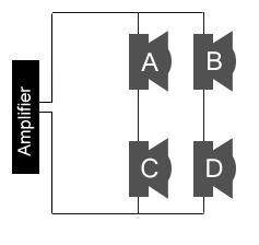 4 Speakers in a Series and Parallel configuration